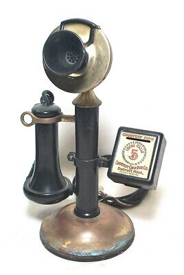 Antique Western Electric Candlestick Pay Telephone W/ Scarce Courtesy Coin Box