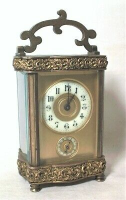 Antique French Fancy Reticulated Brass Carriage Clock W/ Alarm - Nice & Running