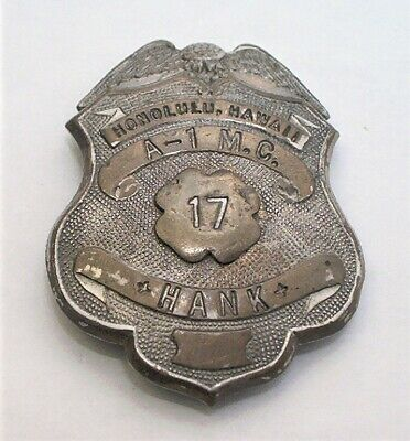 OBSOLETE 1940s HONOLULU HAWAII BREAST BADGE by CALIFORNIA STAMP Co. - SAN DIEGO