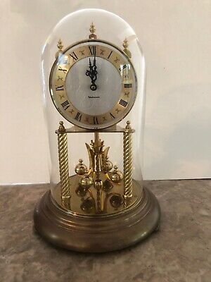 Vintage Westminster Anniversary Clock with Chime Glass Dome West Germany Working