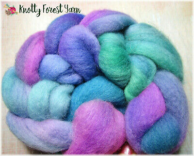 2.5oz Hand Dyed Falkland Wool Roving MERMAID by Knotty Forest Yarn Spin Felting