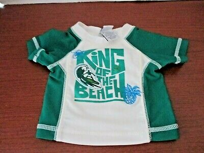 OLD NAVY~White & Green KING OF THE BEACH RASH GUARD~Boys 0-3 Months