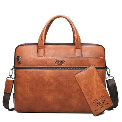 "Men's Briefcase Bags For 14"" Laptop Business Handbags Zipper Leather Office Tote"