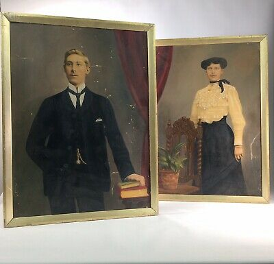 Pair Antique Victorian Painting  Print On Board Vintage Rustic tattoo stage prop