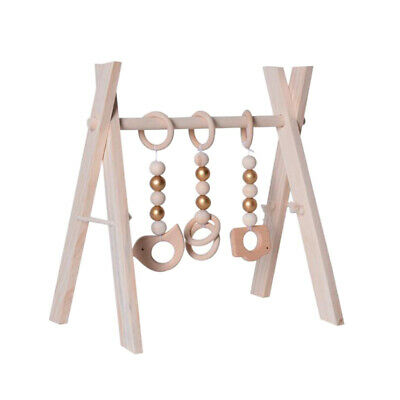 Foldable Play Gym Frame Wooden Activity Gym Hanging Bar Baby Toy Unpainted