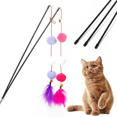 Interactive Plastic Playing Pet Toys Cat Feather Ball Stick Kitten Training