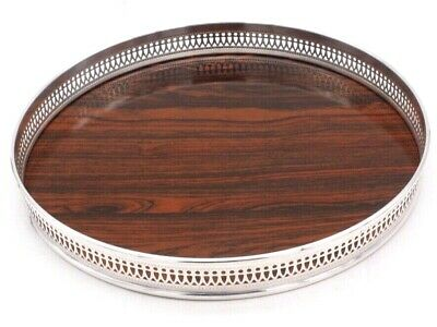 "THE SHEFFIELD SILVER CO. 12 1/2 "" LAMINATE FORMICA ROUND TRAY Pierced Gallery"