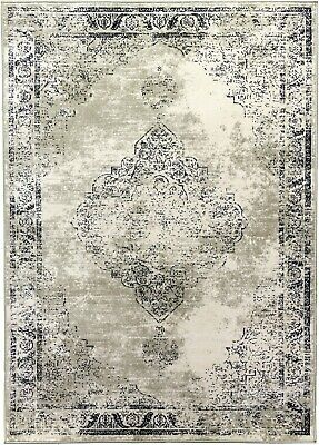 Beige Rug Classic Vintage Design Traditional Faded Distressed Aged Timeless
