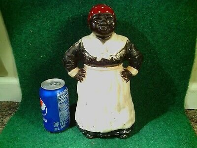 "Antique cast iron doorstop 12"" tall Hubley toy black americana estate find"