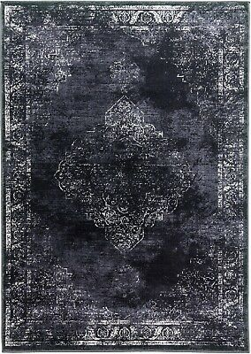 Charcoal Rug Traditional Distressed Vintage Classic Faded Design Black Grey