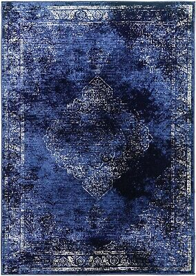Blue Rug Traditional Classic Vintage Design Faded Distressed Sapphire Navy