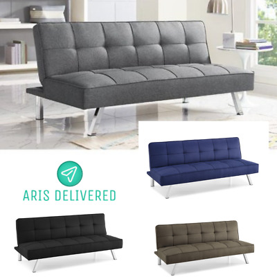 Admirable Futon Modern Convertible Sofa Bed Faux Leather Arm Rest Cup Short Links Chair Design For Home Short Linksinfo