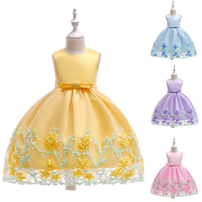 Girls Floral Lace sleeveless Pegeant Princess Gown Dress Wedding Party Evening