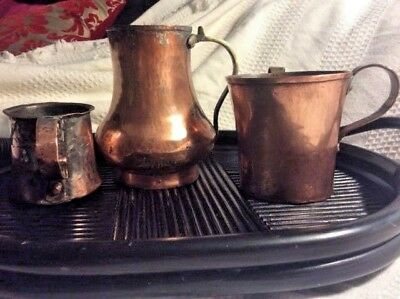 3 Antique Copper & Brass Vessels Small Cup is 1879 Trenton Other 2 Old Americana