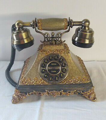 Victorian Antique Style Push Button Desk Telephone Fancy French Shabby Chic