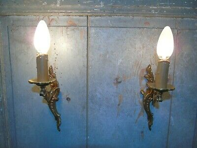 French a pair of metal bronze wall light sconces nicely antique vintage