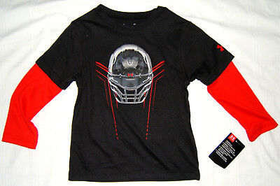 Under Armour Long Sleeve T Shirt Top Toddler Boy 2T Black Red Football NWT