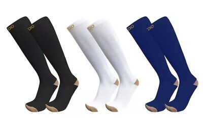 Plus Size Wide Calf 3-Pairs Knee High Copper Compression Socks for Men & Women