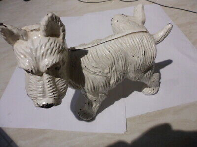 Vintage Original Cast Iron Scotty Scottie Dog Peeing Door Stop Book End White