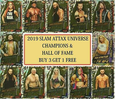 2019 WWE Slam Attax UNIVERSE - Champions & Hall of Fame cards: Buy 3 get 1 FREE