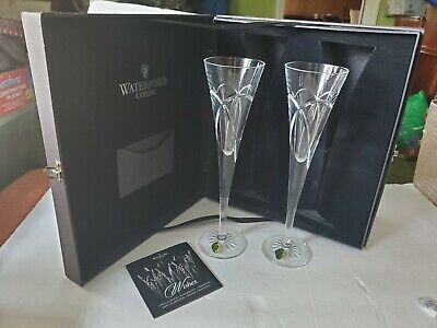 NEW Waterford Crystal Wishes Toasting Champagne Flutes Love and Romance with Box