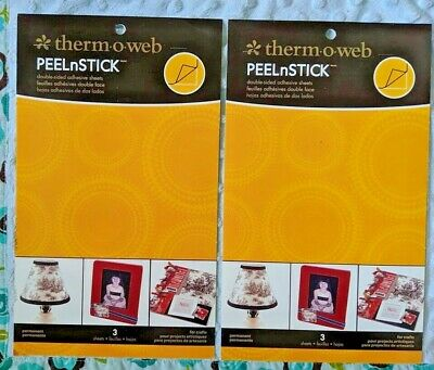 """lot 2 pkgs Thermoweb PEEL n STICK 3 double-sided adhesive sheets 5 x 8.75"""""""
