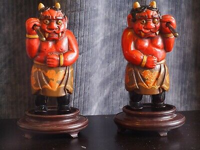 """Antique Hand Carved Wood Curio Asian """"Devils"""" Vintage Collectible Figure Statue"""