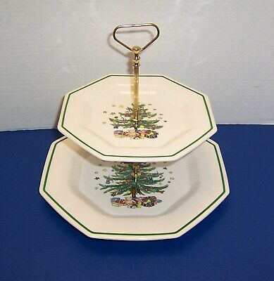 Nikko Classic Collection Christmastime 2 Tier Serving Tray w/ Triangle Handle