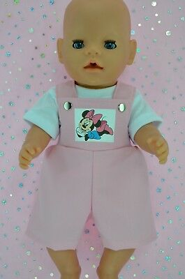 """Play n Wear Dolls Clothes To Fit 17"""" Baby Born PINK BIB DUNGAREE~T-SHIRT"""