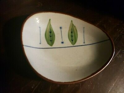 "MCM/VTG Modern Chinese Ceramic Glazed Hand Painted Art Dish 6x5"" Signed"