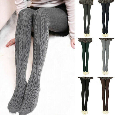Autumn Pantyhose Women Cable Knit Sweater Footed Tights Stretch Long Stockings