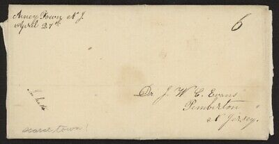 US Stampless folded cover (no ltr) w/Arney Town NJ script pmk to Pemberton, NJ