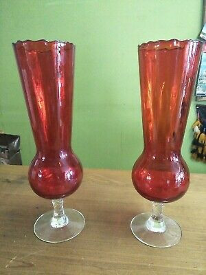 Vintage Pair Of Ruby Art Glass Vases
