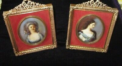 19Th Century 2 French Hand Painted Miniature In Gilt Bronze Frame
