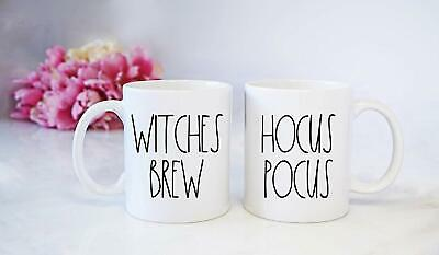 Rae Dunn Inspired Hocus Pocus And Witches Brew Mug Set - Halloween Coffee Cups