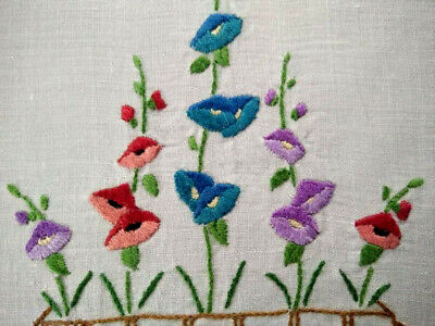 Beautiful Coloured Foxgloves  Vintage Hand Embroidered Centrepiece/mat