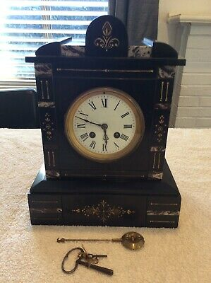 Antique Samuel Marti Marble Mantle Clock; Made In France; Collectable; Working