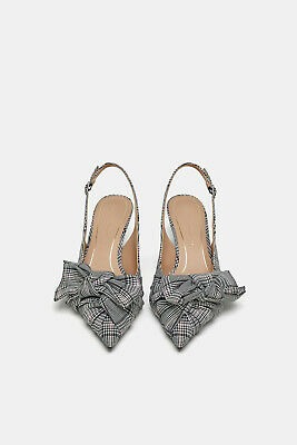 2107587996d NEW ZARA KITTEN MID-HEEL SQUARE PLAID PRINT SHOES GREY With Bow Size ...