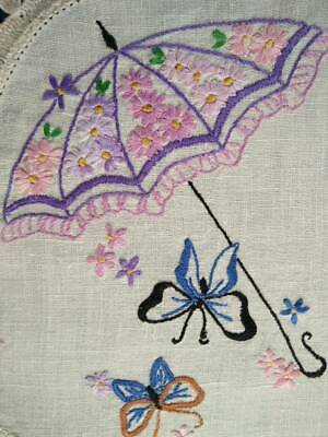 Charming Floral Umrellas & Butterflies  Vintage Hand Embroidered Centrepiece