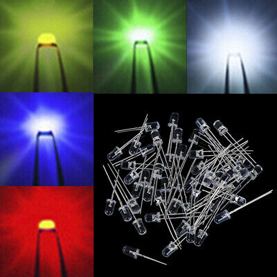 50Pcs 5mm Redondo Rojo / Verde / Azul / Amarillo / Blanco Kit de luz diodos LED
