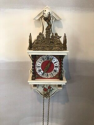 Vintage Hermle Dutch Wall Clock; Holland; Serviced; Decorative; Collectable