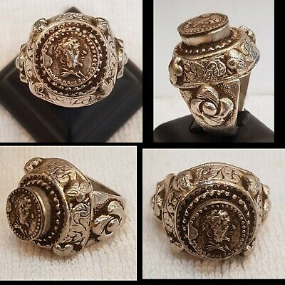 Very Rare And Unique Roman Ancient Old Silver Ring with Roman 1st King Old Coin