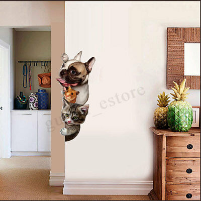3D Removable Cat Dog Bathroom Toilet Wall Stickers Decals Vinyl Mural Home Decor