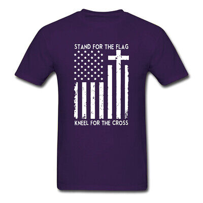 Stand for the Flag Kneel for the Cross Christian American T Shirt Tee USA SIZE