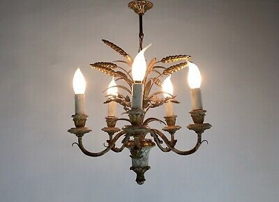 Vintage French Gilt Toleware Wheat Sheaf Ceiling Light Rustic