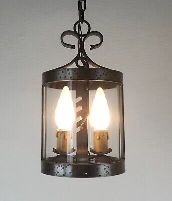 French Gothic Medieval Style Iron Cylinder Lantern 2 Light Porch Pendant