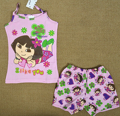 Dora Pink Girls Pyjamas Singlet Set Summer Sleepwear Snug Fit Kids Nightie