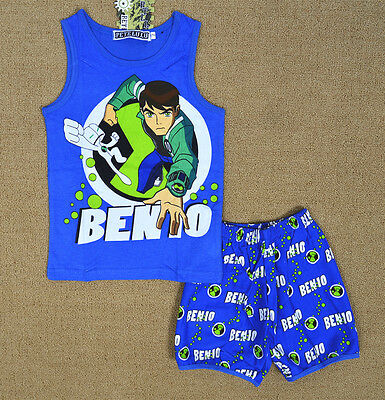 BEN 10 Boy Pyjamas Singlet Set Summer Sleeveless Sleepwear Snug Fit Kids Nightie