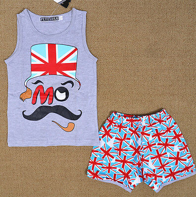 Mustache Grey Boy Pyjamas Singlet Set Summer  Sleepwear Snug Fit Kids Nightie