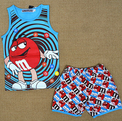M&M Chocalate Boy Pyjamas Singlet Set Summer Sleepwear Snug Fit Kids Nightie